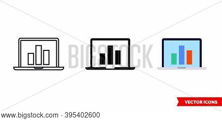 Laptop Metrics Icon Of 3 Types Color, Black And White, Outline. Isolated Vector Sign Symbol.