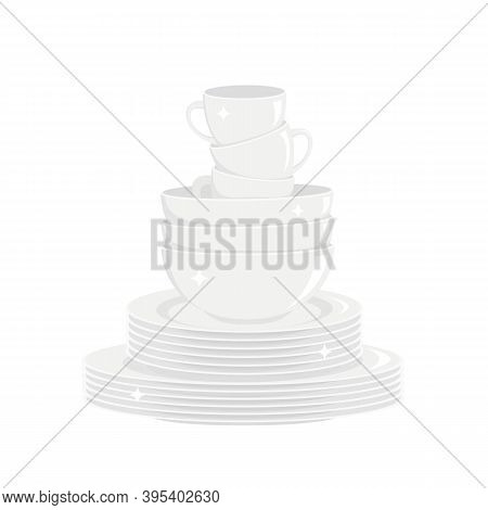 Stack Of Clean Shining White Dishes Isolated On White Background. Washed Dishware, Kitchen Tableware