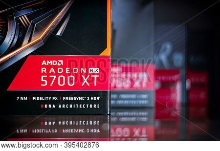Bangkok, Thailand - Novermber 18, 2020: Boxes Of Amd Radeon Rx 5700xt Graphic Processor On A Reflect