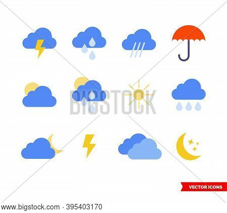 Weather Icon Set Of Color Types. Isolated Vector Sign Symbols. Icon Pack.