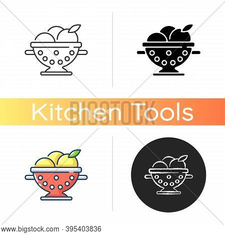 Colander Icon. Strainer To Rinse Fruits. Wash Fruits In Pot With Holes. Kitchen Tool For Cooking. Ut