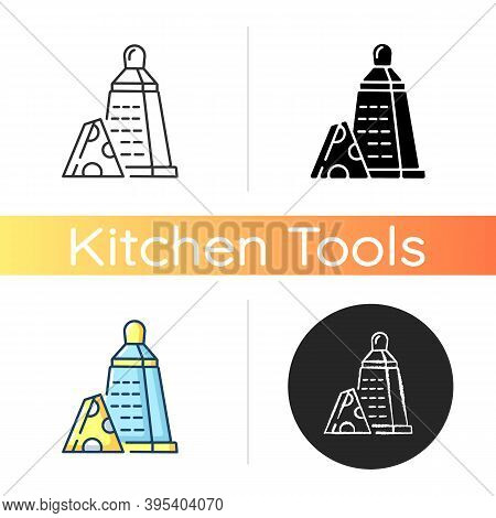 Grater Of Vegetables Icon. Cheese Stainless Cutter. Kitchen Utensil To Slice Cheddar. Cut Cooking In