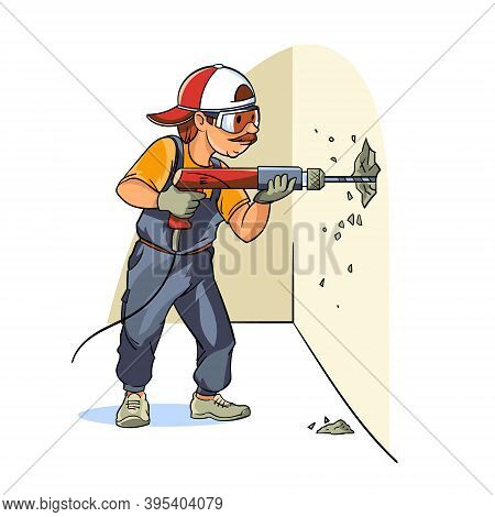 A Construction Worker Makes The Dismantling Of The Wall