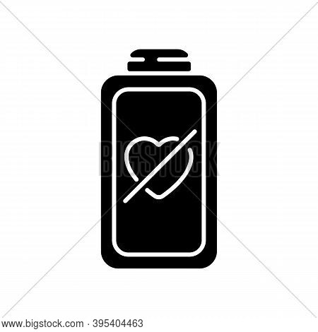 Fully Discharged Battery Black Glyph Icon. Low Percantage On Your Device. Disabled System. Need Cone