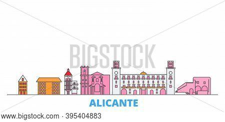Spain, Alicante Line Cityscape, Flat Vector. Travel City Landmark, Oultine Illustration, Line World