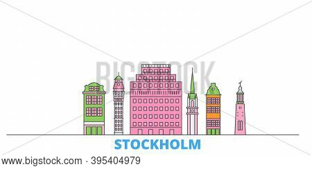 Sweden, Stockholm Line Cityscape, Flat Vector. Travel City Landmark, Oultine Illustration, Line Worl