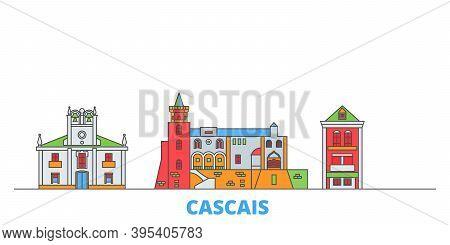 Portugal, Cascais Line Cityscape, Flat Vector. Travel City Landmark, Oultine Illustration, Line Worl