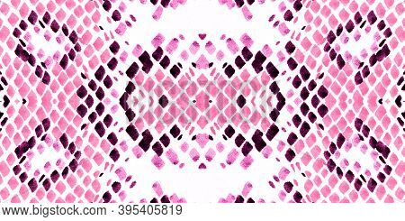 Seamless Cobra Pattern. Pink And White Rapport. Exotic Fashion Background. Serpent Leather Wild Prin