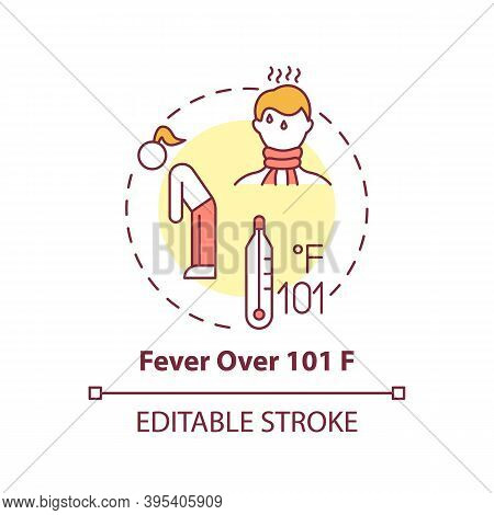 Fever Over 101 F Concept Icon. Sore Throat Complication Idea Thin Line Illustration. Dangerous Body