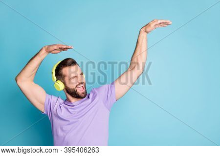 Photo Of Young Man Listen Music Earphones Enjoy Melody Dance Have Fun Look Empty Space Isolated Over