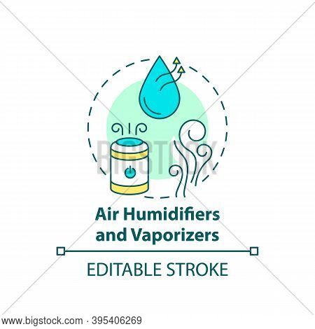 Air Humidifiers And Vaporizers Concept Icon. Adding Humidity To Air Idea Thin Line Illustration. Eas