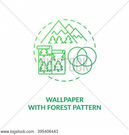 Wallpaper With Forest Pattern Green Concept Icon. Wall Art With Nature Texture. House Interior Impro