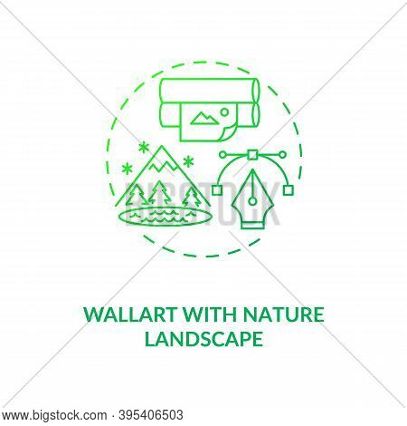 Wallart With Nature Landscape Green Concept Icon. Wallpaper With Plants. Comfortable Interior Design