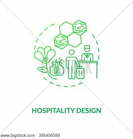 Hospitality Design Green Concept Icon. Comfortable Hotel. Guest House. Natural Materials In Interior