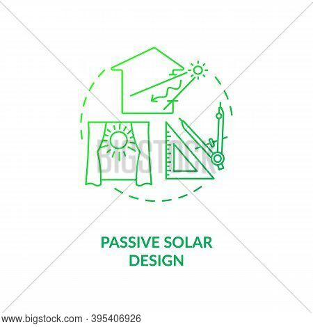Passive Solar Design Green Gradient Concept Icon. Exposure To Direct Sunlight. Living Space At Home.