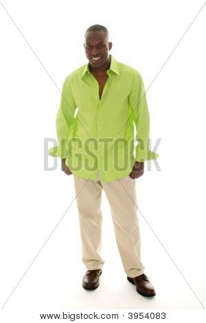 Casual Man In Bright Green Shirt