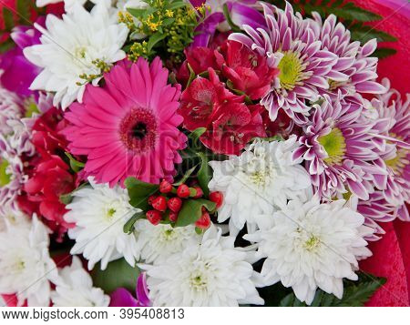 Colorful Bouquet Of Different Fresh Flowers. A Bunch Of Different Chrysanthemums.