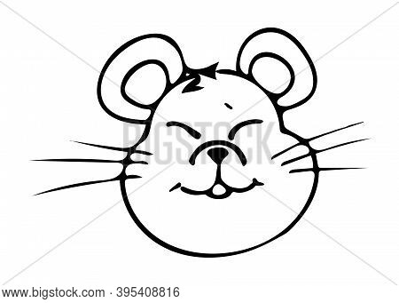 Mouse. Drawn By Hand. Doodles. Black And White. Element Of Festive Decor. Winter Paraphernalia. New