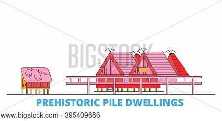 Italy, Prehistoric Pile Dwellings Line Cityscape, Flat Vector. Travel City Landmark, Oultine Illustr