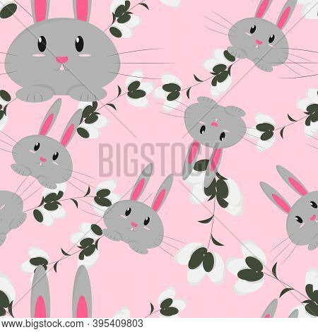 Seamless Pattern With A Hare And Willow Branches On A Pink Background. Flat Cartoony Style. Subtle T