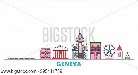 Switzerland, Geneva Line Cityscape, Flat Vector. Travel City Landmark, Oultine Illustration, Line Wo