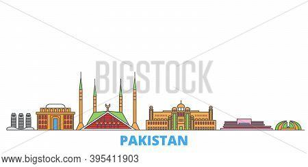 Pakistan, Islamabad Line Cityscape, Flat Vector. Travel City Landmark, Oultine Illustration, Line Wo