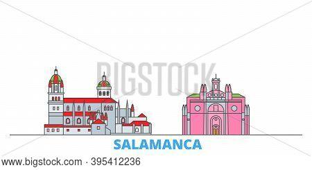 Spain, Salamanca Line Cityscape, Flat Vector. Travel City Landmark, Oultine Illustration, Line World