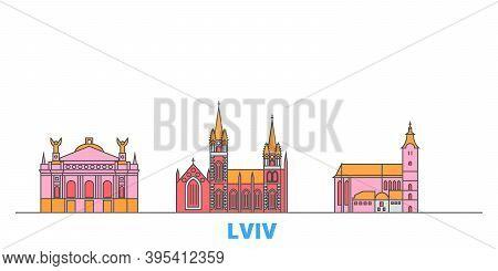 Ukraine, Lviv Line Cityscape, Flat Vector. Travel City Landmark, Oultine Illustration, Line World Ic