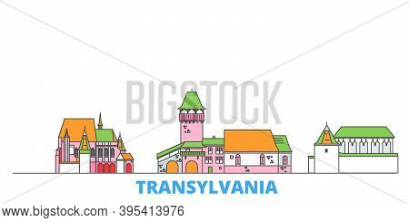 Romania, Transylvania Line Cityscape, Flat Vector. Travel City Landmark, Oultine Illustration, Line