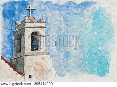 Small Church Belfry With Bell And Cross In San Pedro De Atacama. A Cute Tourist Village On The Andea
