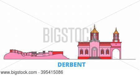 Russia, Derbent Line Cityscape, Flat Vector. Travel City Landmark, Oultine Illustration, Line World