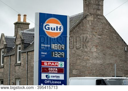 Scotland - August 8, 2019: The Banner Of Gulf Gas Station Selling Unleaded Petrol And Diesel Fuel In