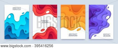 Abstract Paper Cut Cover. Layer Wavy Shapes 3d Pattern. Red, Blue And Orange Flyer Or Banner Templat