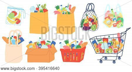 Grocery Bags And Carts. Shopping Basket, Paper And Plastic Packages, Eco Bag With Organic Food. Supe