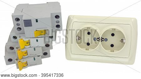 Electrical Outlet And Circuit Breakers On A White Background