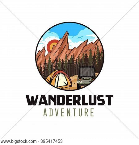 Wanderlust Adventure Logo, Retro Camping Emblem Design With Mountains, Tent And Rv. Unusual Vintage