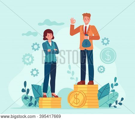 Gender Salary Gap. Business Man And Woman Standing On Unequal Money Stacks. Female Discrimination. I
