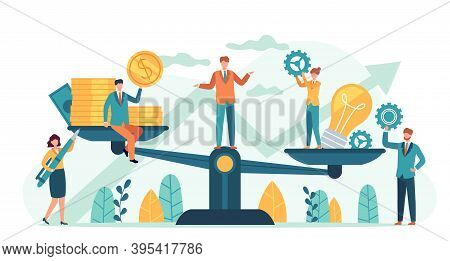 Money And Idea Balance. Investor Compare Business Ideas And Finance On Scales. Buying Creative Proje