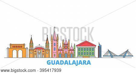 Mexico, Guadalajara Line Cityscape, Flat Vector. Travel City Landmark, Oultine Illustration, Line Wo