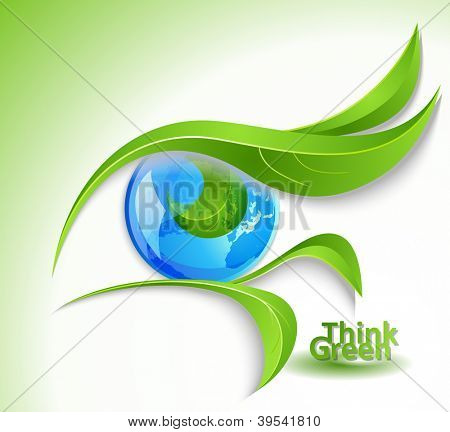 Eco icon - eye with lashes-leaves