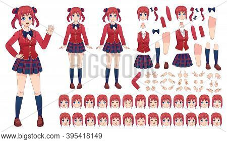 Anime Girls Character Kit. Cartoon School Girl Uniform In Japanese Style. Kawaii Manga Student Poses