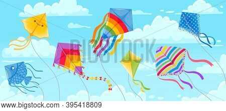 Kites In Sky. Summer Blue Skies And Clouds With Kite On String Flying In Wind. Kites Festival Banner