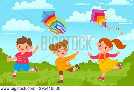 Kids With Kites. Boy And Girl Outside Playing With Flying Toy In Park. Cartoon Children And Kite In