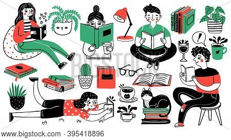 Books And Readers. Happy People Read And Study. Book Piles, Houseplants, Cat, Tea And Coffee Cup. Ha