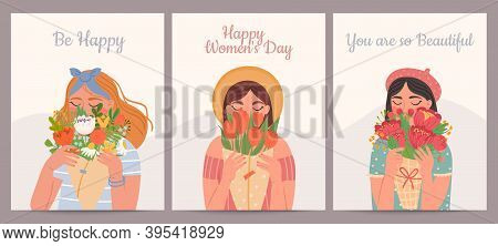 Woman With Flower Bouquet. Happy International Womens Day, Valentines And Mothers Days. Beauty Girls