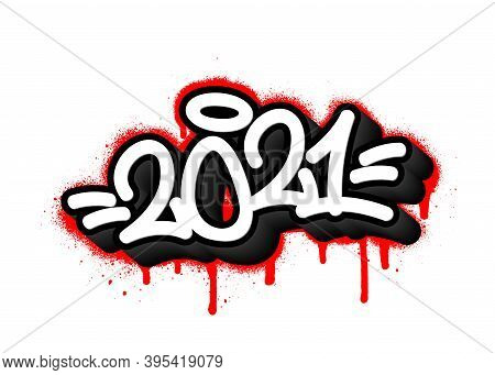 2021 Tag Graffiti With Overspray In Black Over White. Vector Illustration.