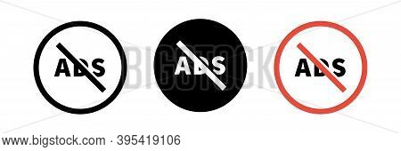 No Ads Icon Set. Vector Advertisement Sign Collection.