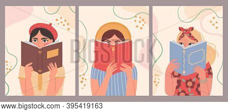 Women Reading Books. Hand Drawn Fashion Poster With Trendy Beautiful Woman Holding Book. Portraits O