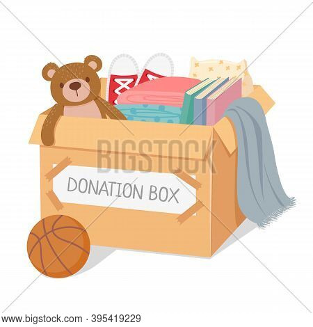 Donation Box. Charity For Poor Kids And Homeless People. Box Filled With Toys, Books And Clothes. So