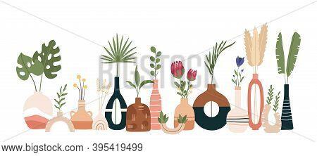 Ceramic Vase Poster. Scandinavian Art With Vases, Pots And Jugs. Handmade Pottery Kitchen Banner. Mi